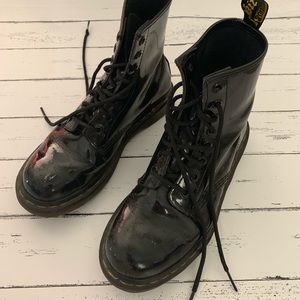 Dr. Martens Shoes - Dr Martens   Well Worn Black Patent 1460 Boot